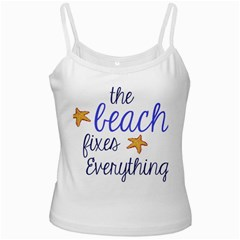 The Beach Fixes Everything White Spaghetti Top