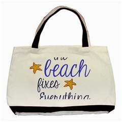 The Beach Fixes Everything Twin-sided Black Tote Bag