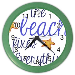 The Beach Fixes Everything Wall Clock (Color)