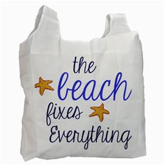 The Beach Fixes Everything White Reusable Bag (One Side)