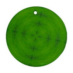 Go Green Kaleidoscope Round Ornament (Two Sides)