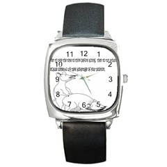 Better To Take Time To Think Square Leather Watch