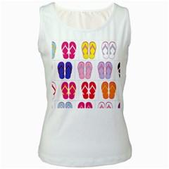 Flip Flop Collage Women s Tank Top (White)