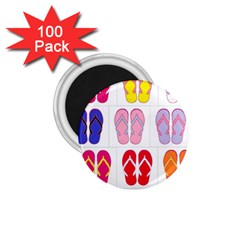 Flip Flop Collage 1.75  Button Magnet (100 pack)