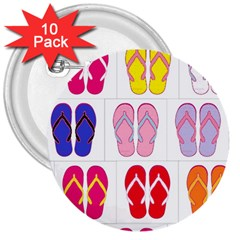 Flip Flop Collage 3  Button (10 pack)