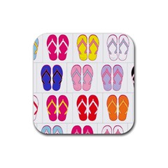Flip Flop Collage Drink Coasters 4 Pack (Square)