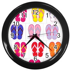 Flip Flop Collage Wall Clock (Black)