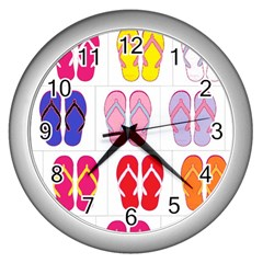 Flip Flop Collage Wall Clock (Silver)