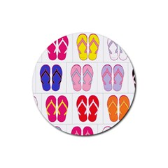 Flip Flop Collage Drink Coasters 4 Pack (round)