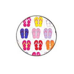 Flip Flop Collage Golf Ball Marker 4 Pack (for Hat Clip)