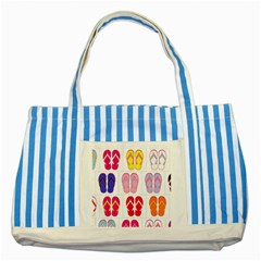 Flip Flop Collage Blue Striped Tote Bag