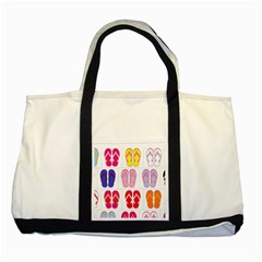 Flip Flop Collage Two Toned Tote Bag