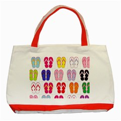 Flip Flop Collage Classic Tote Bag (Red)