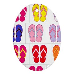 Flip Flop Collage Oval Ornament (two Sides)