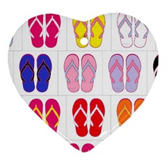 Flip Flop Collage Heart Ornament (two Sides)
