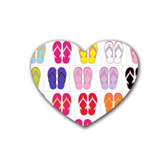 Flip Flop Collage Drink Coasters 4 Pack (Heart)