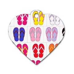 Flip Flop Collage Dog Tag Heart (One Sided)