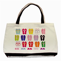 Flip Flop Collage Twin-sided Black Tote Bag