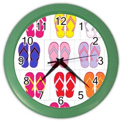 Flip Flop Collage Wall Clock (color)