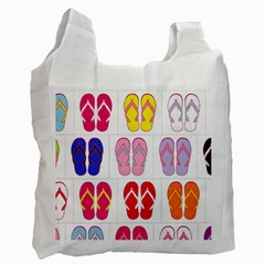 Flip Flop Collage White Reusable Bag (Two Sides)