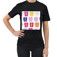 Flip Flop Collage Women s T-shirt (Black)