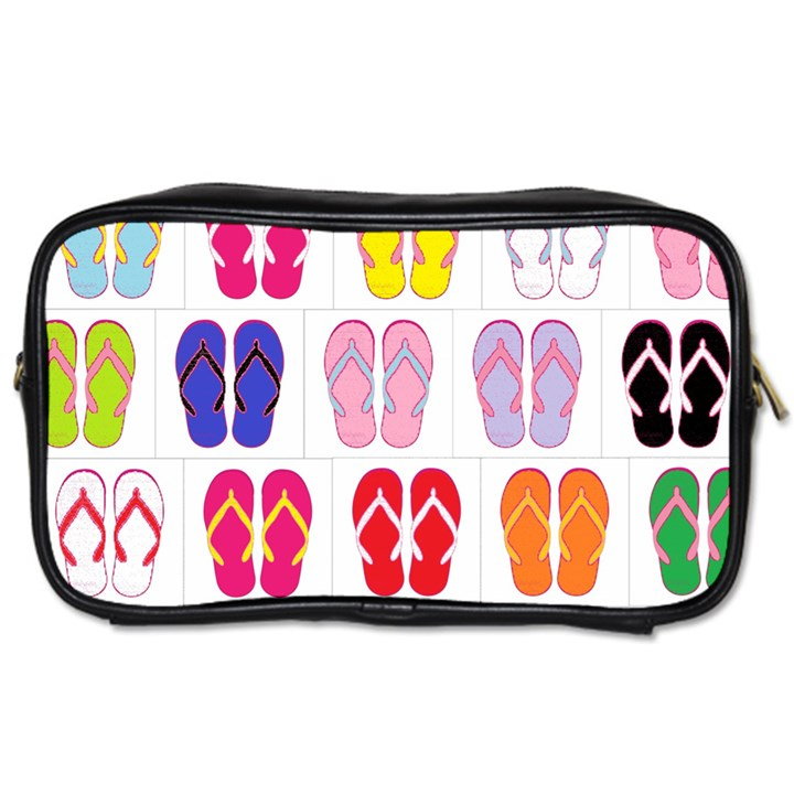 Flip Flop Collage Travel Toiletry Bag (Two Sides)