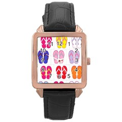 Flip Flop Collage Rose Gold Leather Watch