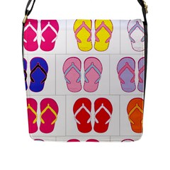 Flip Flop Collage Flap Closure Messenger Bag (Large)