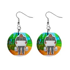 Yowie A, Text In Aussie Outback, Mini Button Earrings