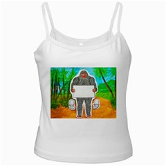 Yowie A, Text In Aussie Outback, White Spaghetti Top