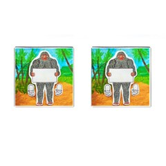 Yowie A, Text In Aussie Outback, Cufflinks (square)