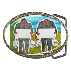 2 Big Foot Text In Everglades Belt Buckle (oval)