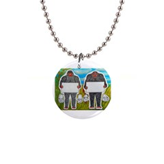 2 Big Foot Text In Everglades Button Necklace