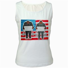 2 Big Foot Text On U S A Women s Tank Top (White)