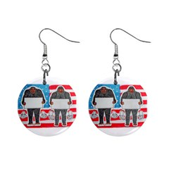 2 Big Foot Text On U S A Mini Button Earrings