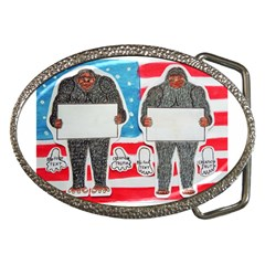 2 Big Foot Text On U S A Belt Buckle (oval)