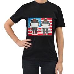 2 Big Foot Text On U S A Women s T Shirt (black)