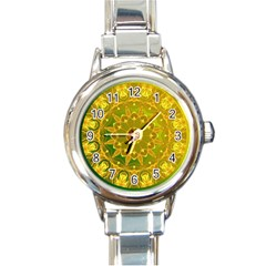 Yellow Green Abstract Wheel Of Fire Round Italian Charm Watch