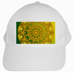 Yellow Green Abstract Wheel Of Fire White Baseball Cap