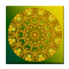 Yellow Green Abstract Wheel Of Fire Ceramic Tile
