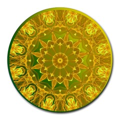 Yellow Green Abstract Wheel Of Fire 8  Mouse Pad (round)