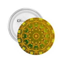 Yellow Green Abstract Wheel Of Fire 2.25  Button