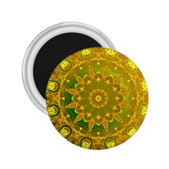 Yellow Green Abstract Wheel Of Fire 2 25  Button Magnet
