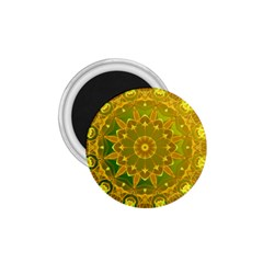 Yellow Green Abstract Wheel Of Fire 1.75  Button Magnet