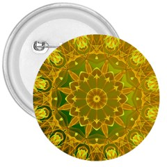 Yellow Green Abstract Wheel Of Fire 3  Button