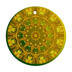 Yellow Green Abstract Wheel Of Fire Round Ornament