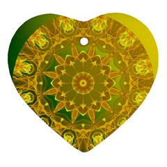 Yellow Green Abstract Wheel Of Fire Heart Ornament