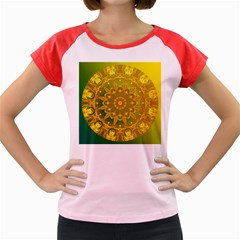 Yellow Green Abstract Wheel Of Fire Women s Cap Sleeve T-Shirt (Colored)
