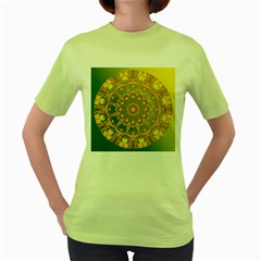 Yellow Green Abstract Wheel Of Fire Women s T-shirt (Green)