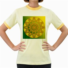 Yellow Green Abstract Wheel Of Fire Women s Ringer T-shirt (Colored)